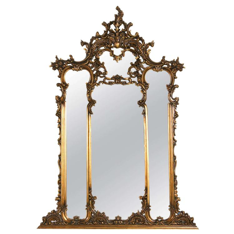A fine French Carved Over the Mantle Mirror