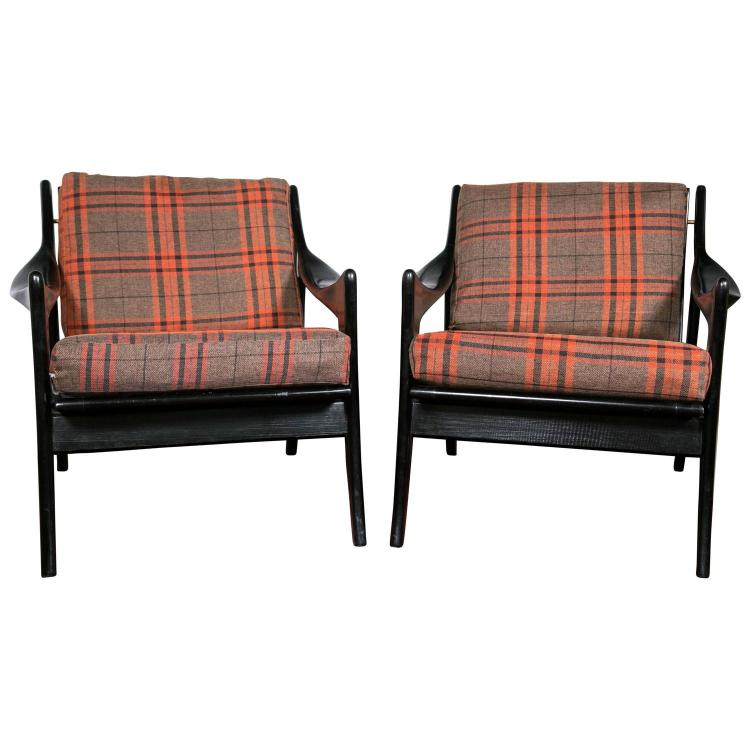 Pair of Danish Mid-Century Modern Ebonized Flannel Upholstered Modern Arm Chairs