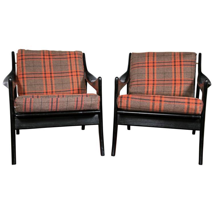 Pair of Danish Mid-Century Modern Ebonized Flannel Upholstered Modern Arm Chairs