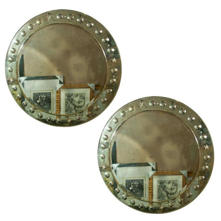 Pair of Large Circular Venetian Style Mirrors