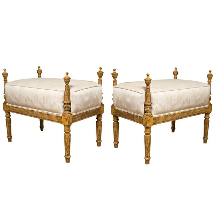 Pair of French Louis XVI Style Painted Benches