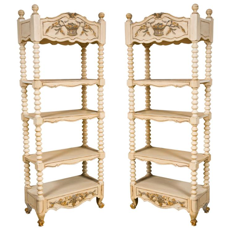 Pair of Decorative Painted Etagere Bookcases