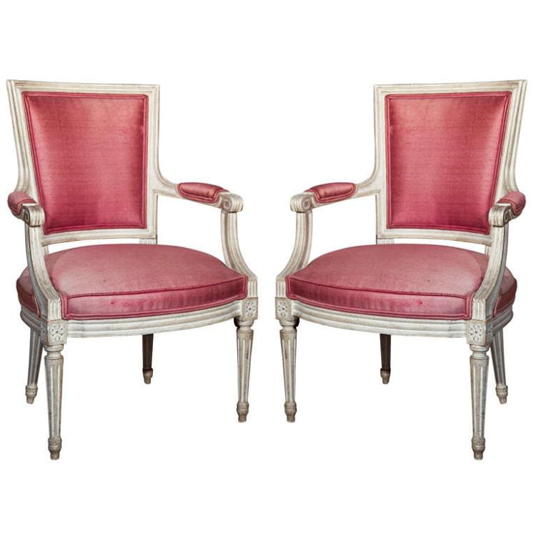 Pair of French Painted Armchairs by Jansen