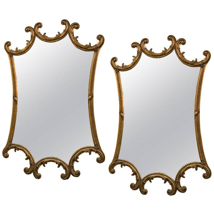 Pair of Hollywood Regency Gilt Gold Mirrors
