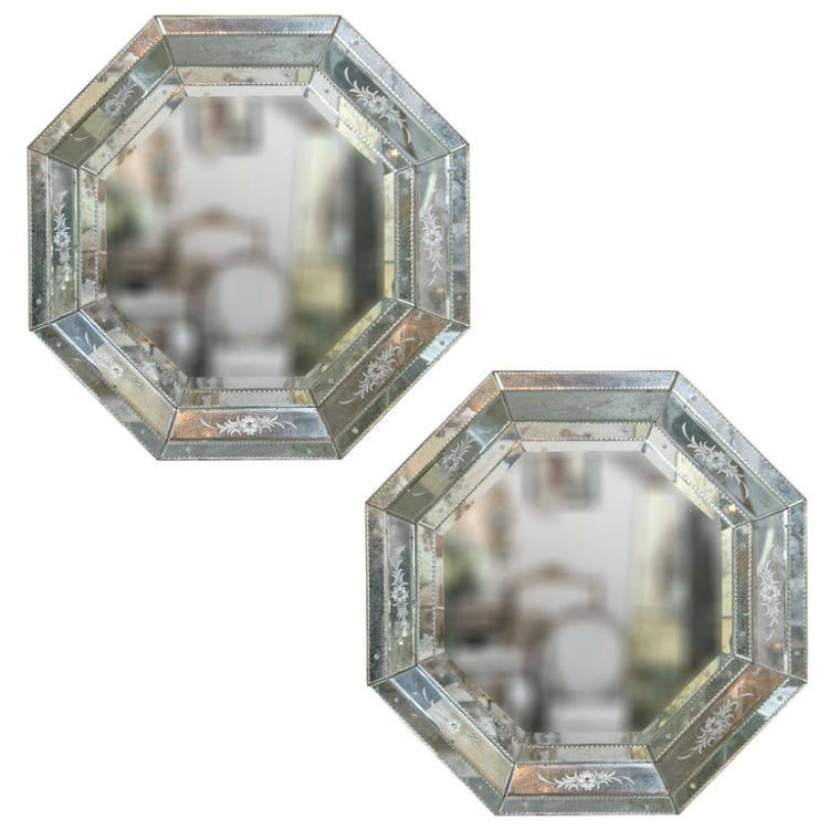 Pair of Venetian Style Hollywood Regency Mini Octagon Mirrors