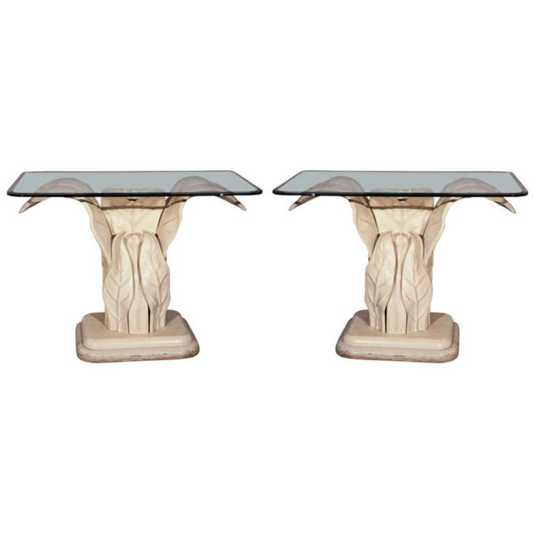 Pair of Glass Top Leaf Base Console Tables Robert Marcius
