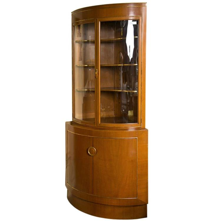 A Grosfeld House Bow Front Corner Cabinet