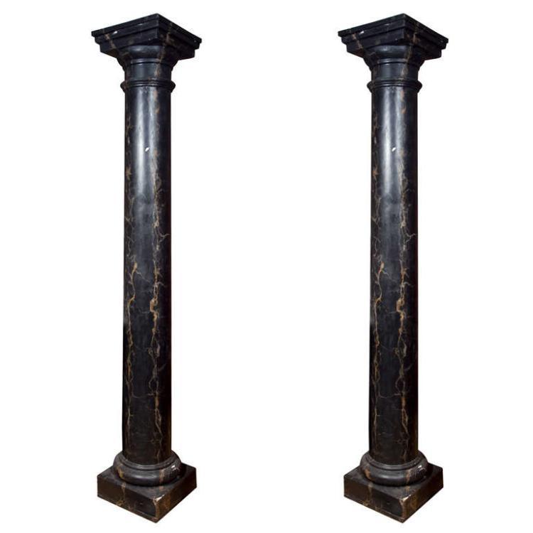 Pair Faux Marble Columns
