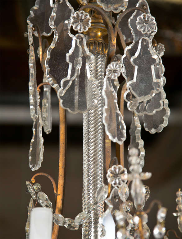 Late 19th Century Crystal and Bronze Chandelier
