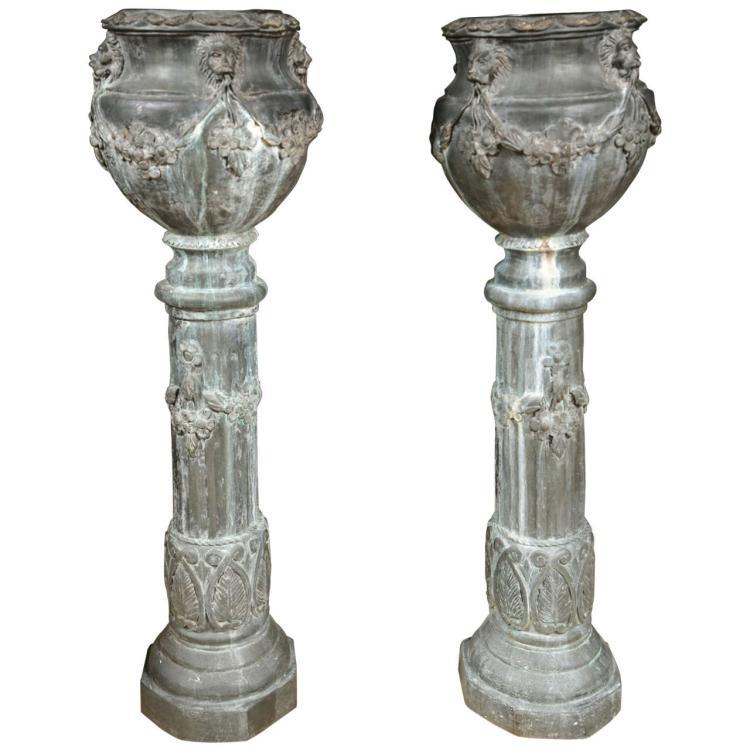 Pair of Zinc Column Planters