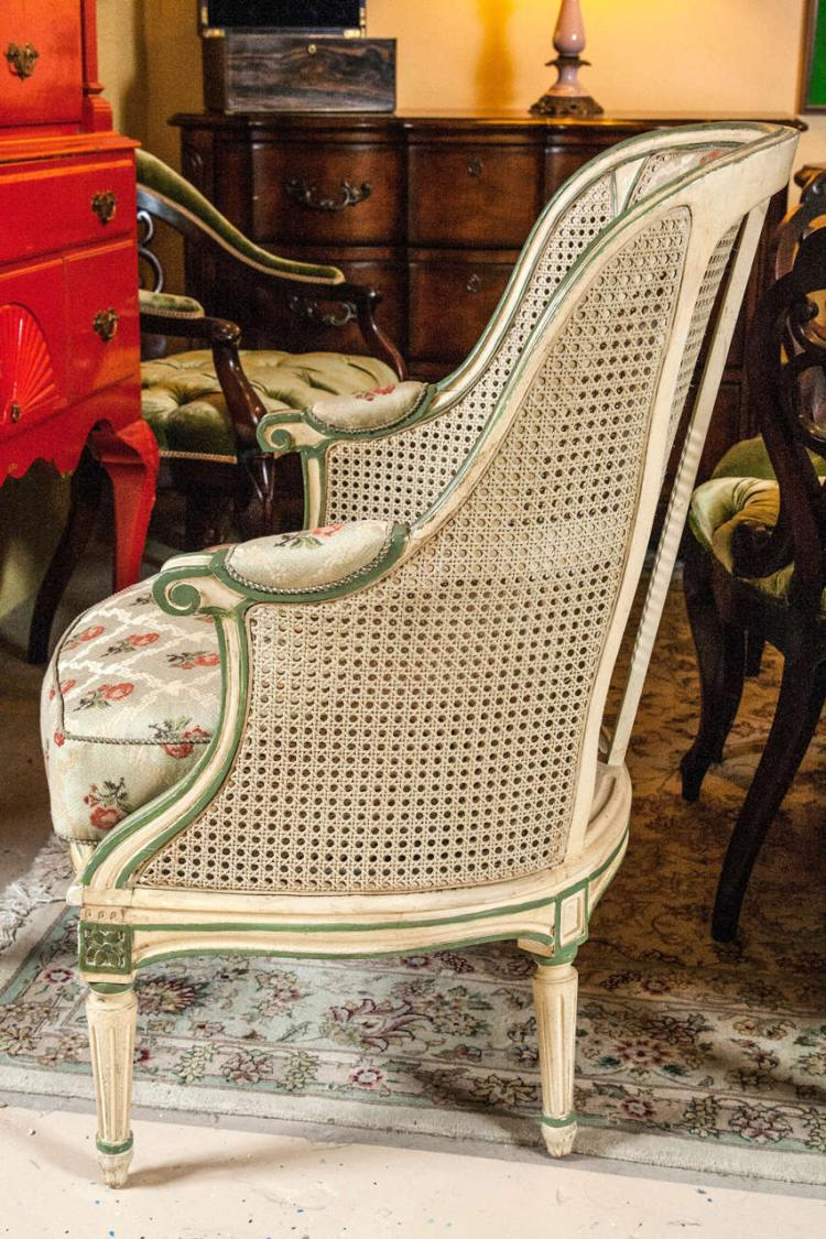 Pair of Bergere Chairs in the Style of Louis XVI