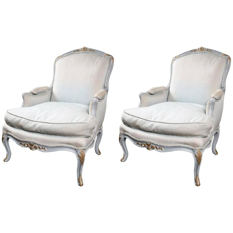 Pair of Louis XV Style Beechwood Painted Bergeres Manner of Jansen