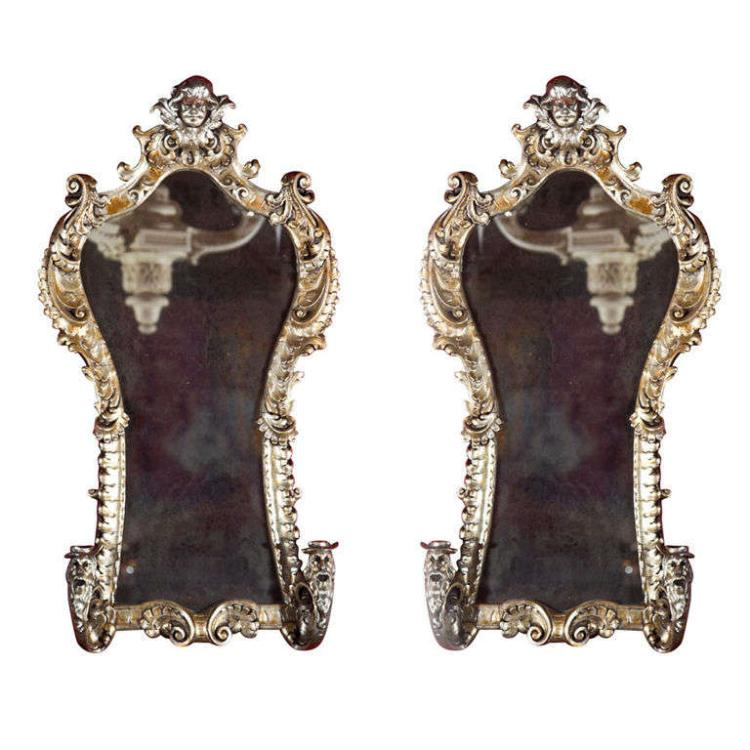 Pair of French Rococo Style Mirrors/Sconces