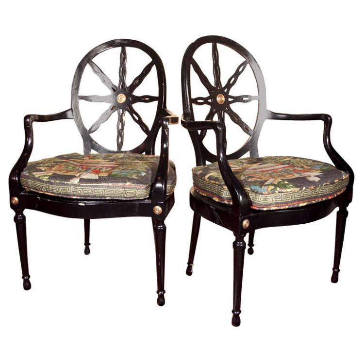 Pair of Ebonized Armchairs