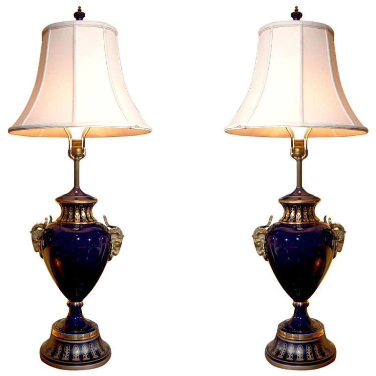19th Early 20th Century Cobalt Blue French Lamps