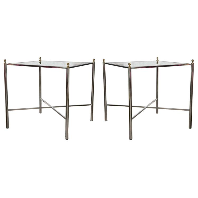 Pair of Mid-Century Style Chrome Side Tables by Jansen