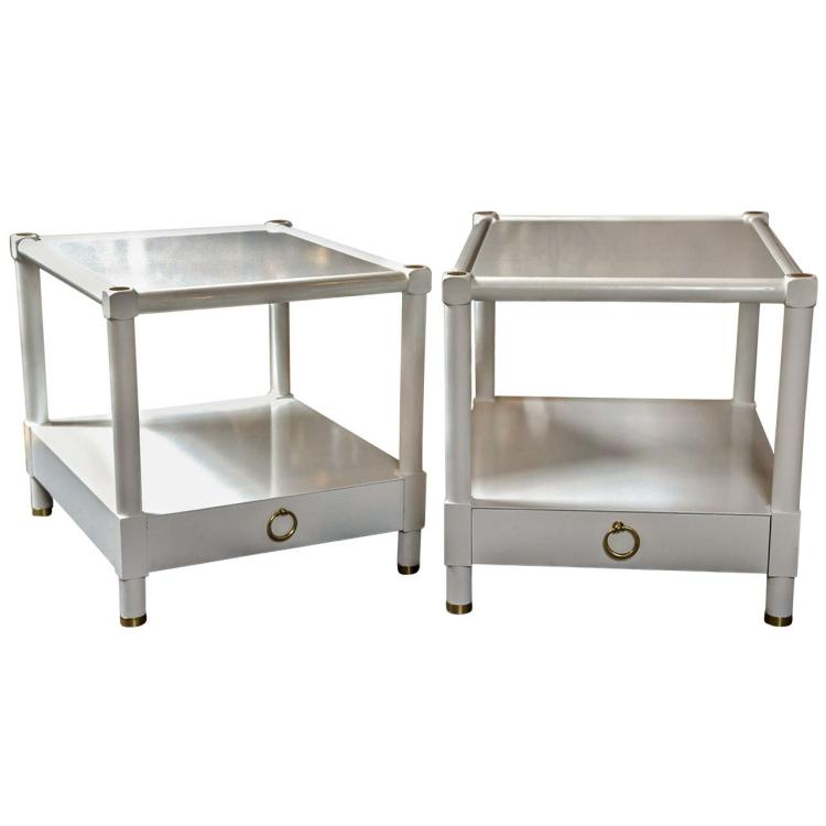 Pair of Baker White Lacquered End Tables
