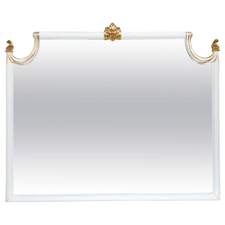 Hollywood Regency White Lacquered Giltwood Wall or Console Mirror