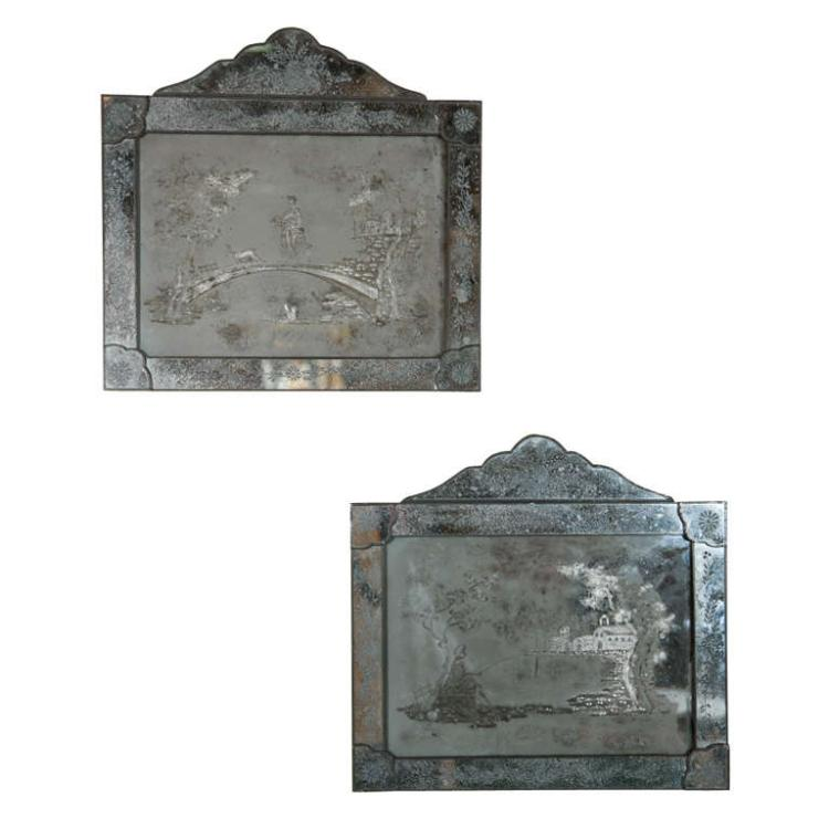 Pair of Antique Etched Glass Mirror Placques