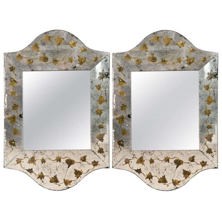Pair of Eglomise Glass Scalloped Mirrors
