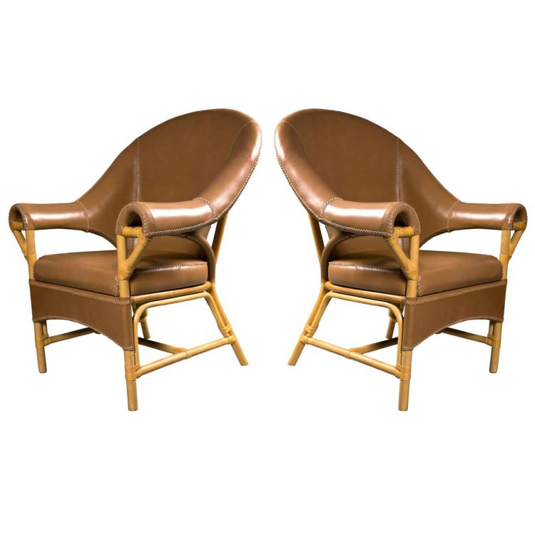 Decorative Pair of Leather and Rattan Chairs