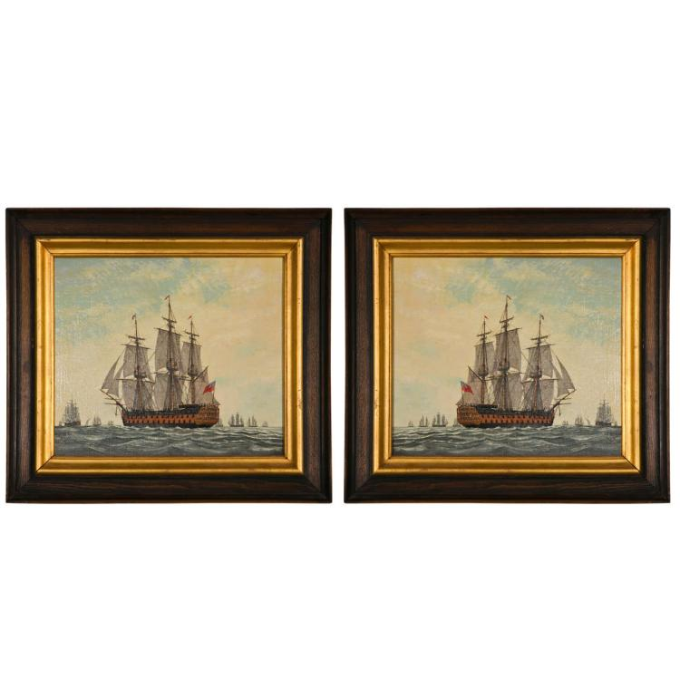 Pair of Oil Paintings of Vessels