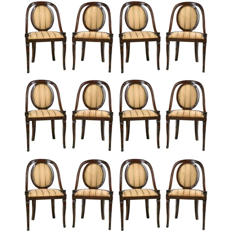 Set of 12 Regency Style Mahogany Dining Chairs