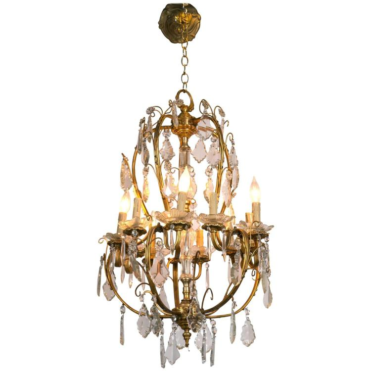 French Bronze and Crystal Chandelier in the Louis XVI Style