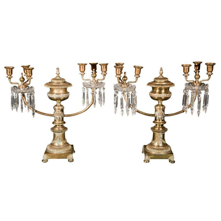 Pair of Brass Argand Two Arm Candelabra Lamps