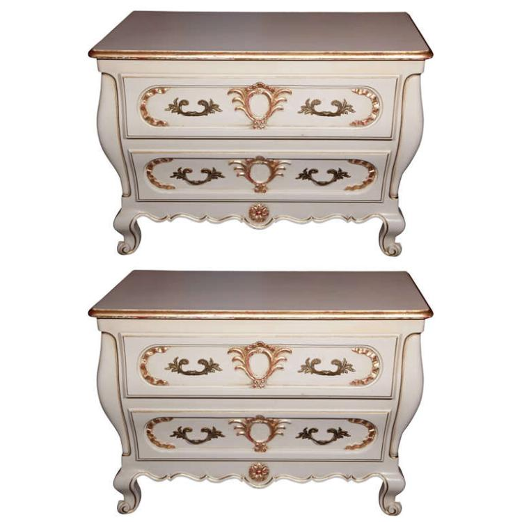 Pair of French Louis XV Style Bombe Chests