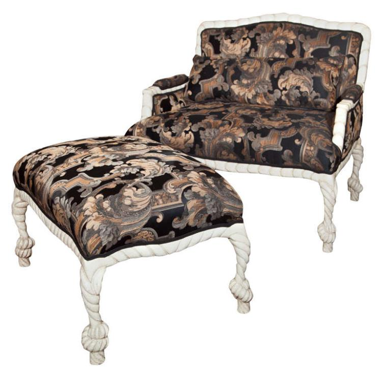 Hollywood Regency Style Painted Lounge with Stool