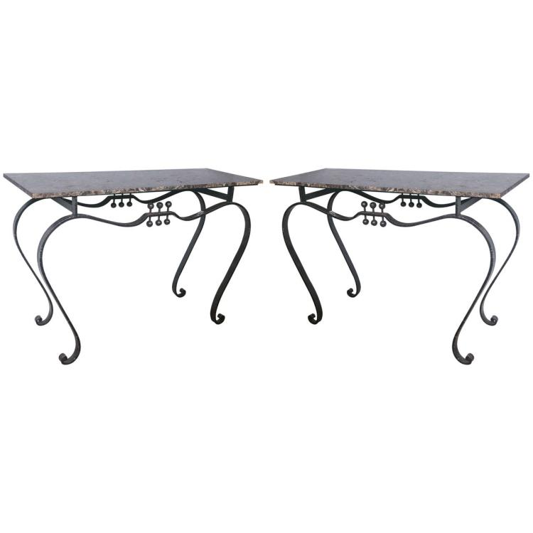 Pair of Marble-Top Wrought Iron Tables