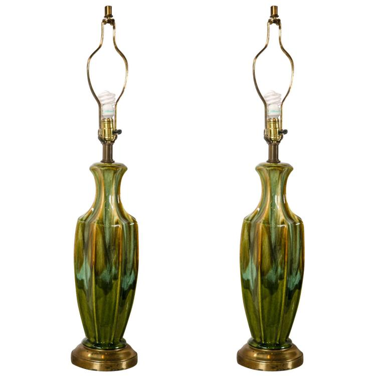 Pair of Art Deco Style Lamps, 1940s-1950s