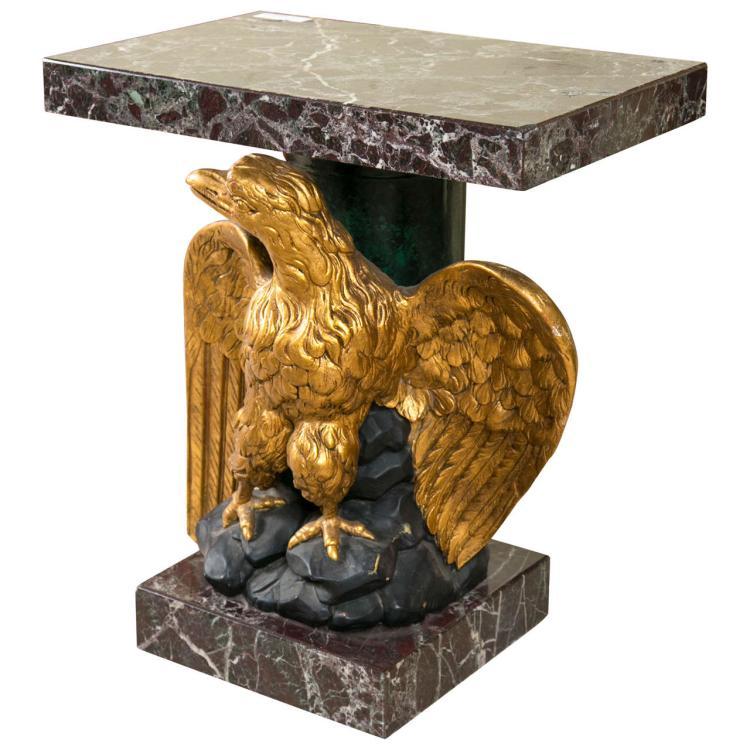 Gilt Wood Carved Eagle Marble-Top Pedestal Table