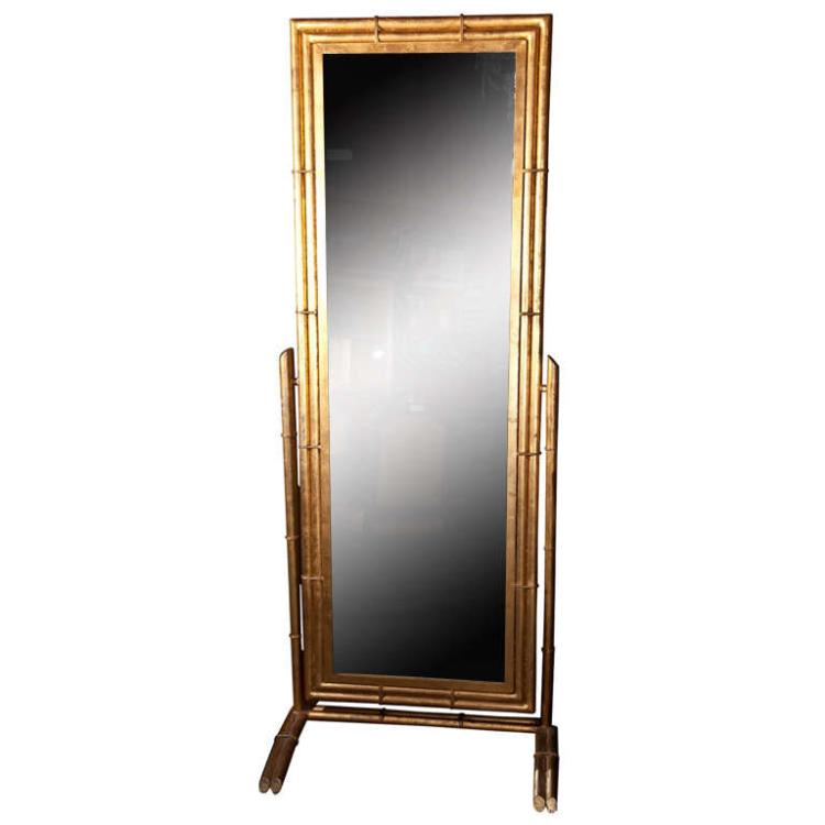 Gilt Metal Cheval Mirror
