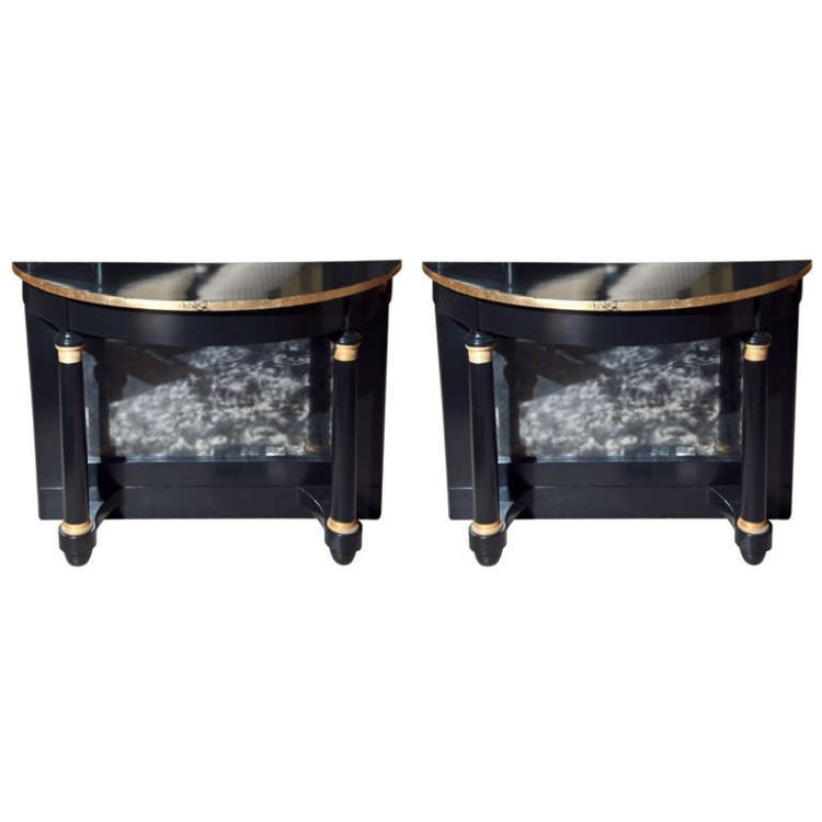 Pair of Ebonized Pier Tables