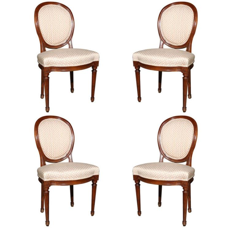 Set of Four French Louis XIV Style Dining Chairs