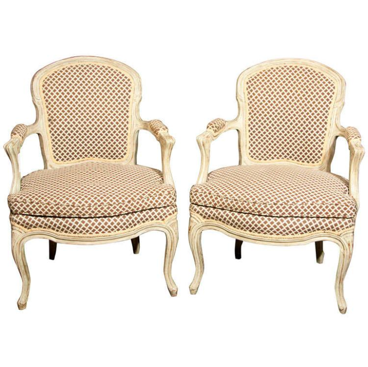 Pair of French Louis XIV Style Fauteuils