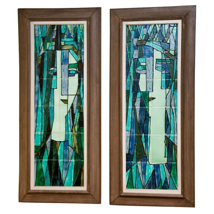 Pair of Art Deco Tiled Wall Panels by Harris Strong