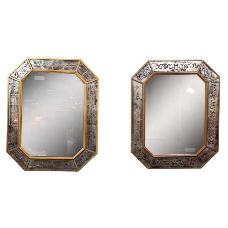 Similar Pair of French Eglomise Mirrors by Maison Jansen