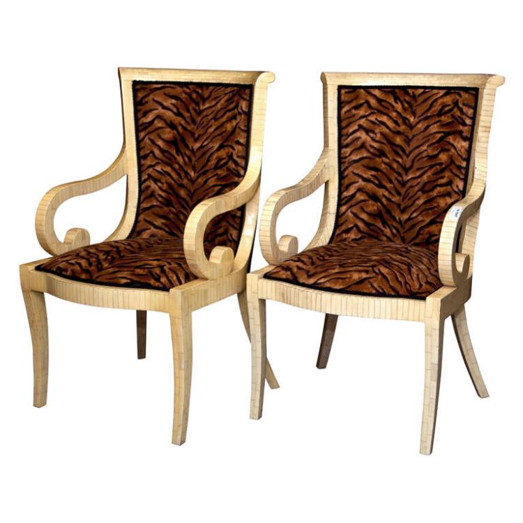 Pair of Armchairs w/ Animal Print Upholstery