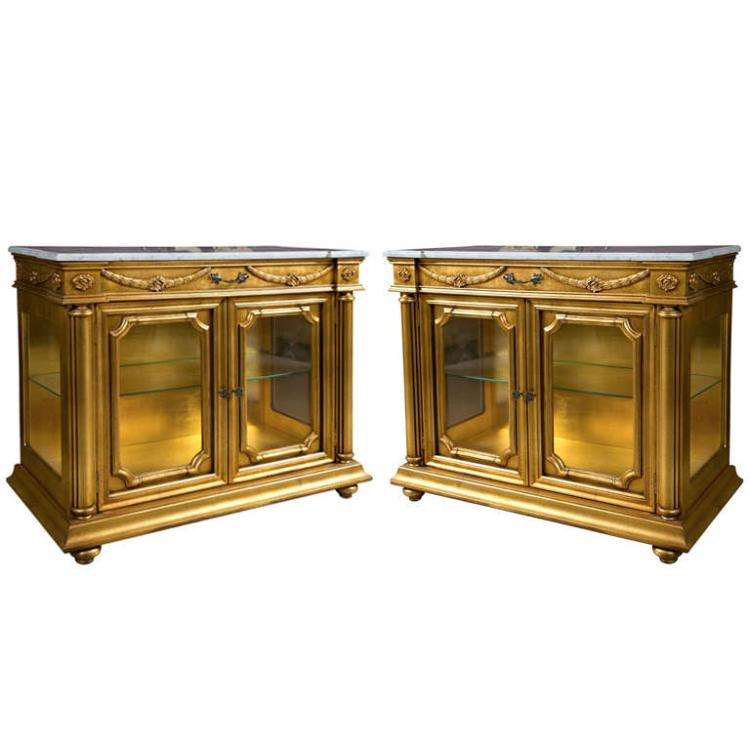 Pair of Gilded Marble Top Cabinets