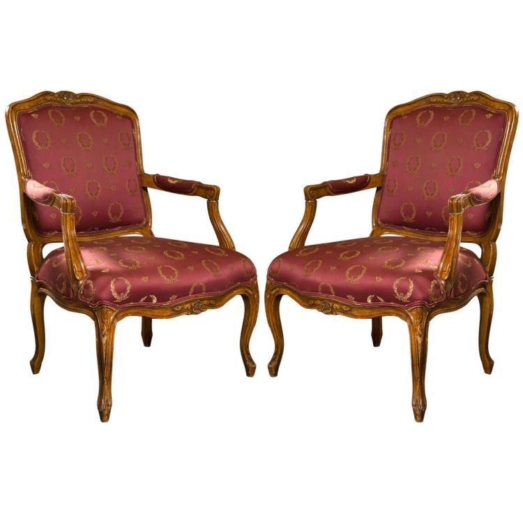 Pair of French Louis XV Style Walnut Fauteuils