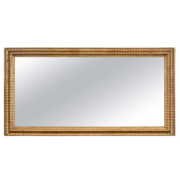 A Gilt Gold Fluted Border Mirror