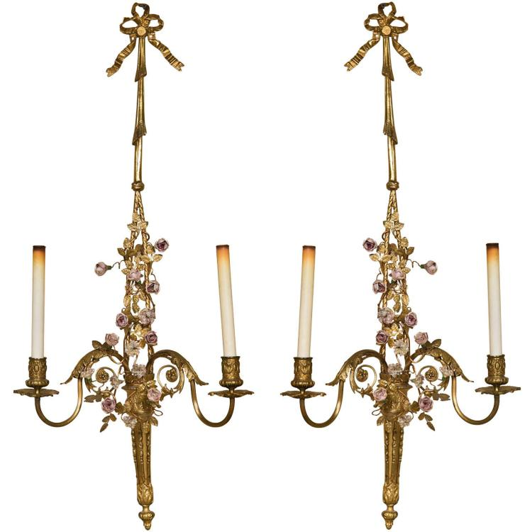 French Belle Epoque Style Brass Wall Sconces