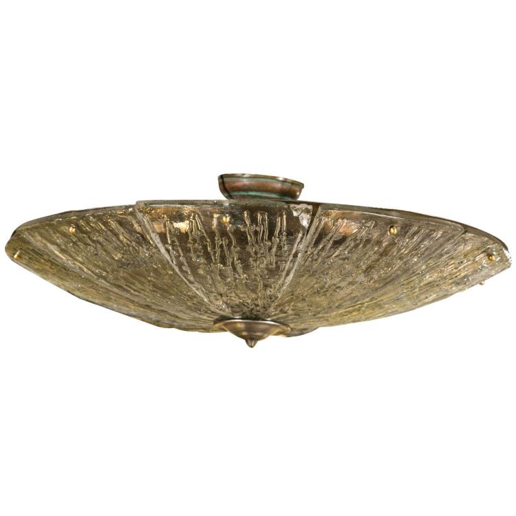 A Lalique Style French Flush Hanging Light Fixture