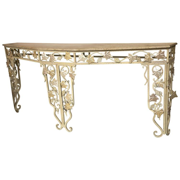Art Deco Style Marble Top Console Table