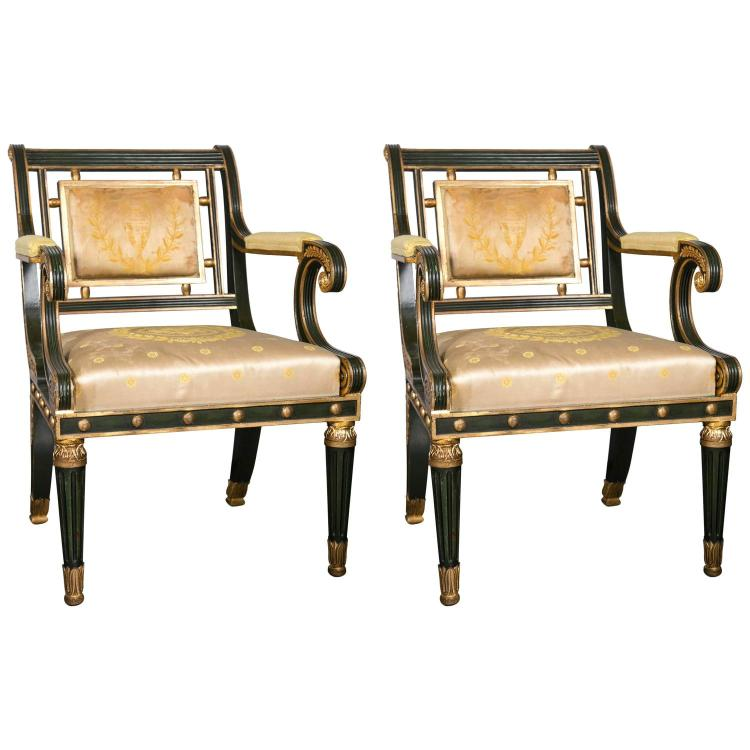 Pair of Fabulous Russian Neoclassical Style Chairs