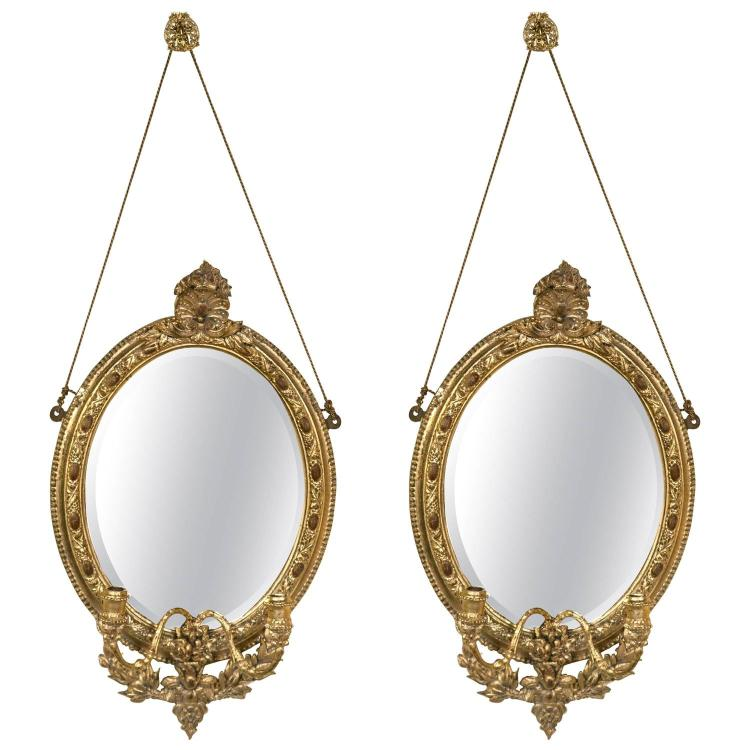Pair of 19th Century Mirror Oval Sconces