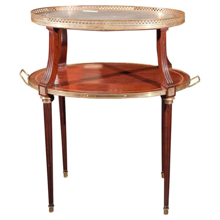 French Two Tier Mahogany Dessert Stand